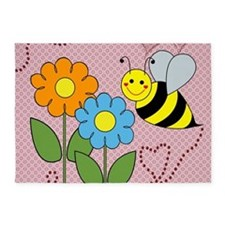 Bumble Bees Flowers Hearts 5'x7'Area Rug
