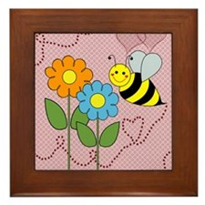 Bumble Bees Flowers Hearts Framed Tile