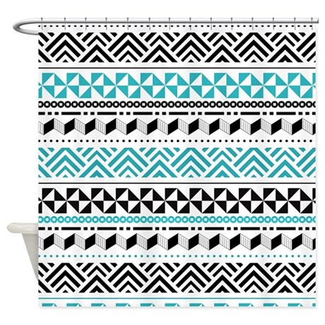 Tribal Geometric Black And Aqua Shower Curtain By Listing