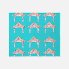Aquamarine Zen Asian Door 47 Throw Blanket