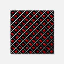 "Red Hearts On Black and Whi Square Sticker 3"" x 3"""