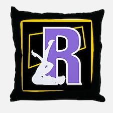 Naughty Initial Design (R) Throw Pillow
