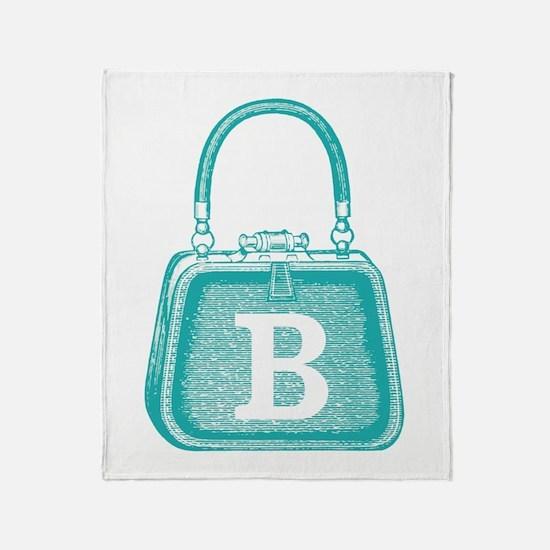 MONOGRAM Vintage Purse Blue Graphic Throw Blanket