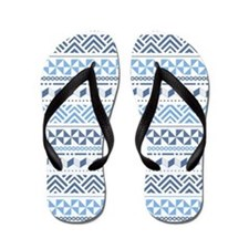 Tribal Blue Pattern Flip Flops