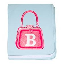 Monogram Vintage Pink Purse Graphic baby blanket