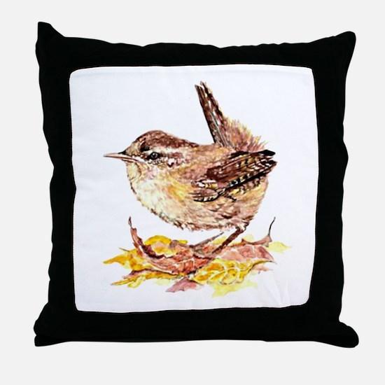 Watercolor Cute Wren Bird Art in Fall or Autumn Le