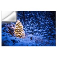 Lit Christmas Tree In Snow Covered Forest Of Spruc Wall Decal