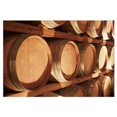 Wine Barrels Stacked On Shelves, Niagara, Ontario, Framed Print