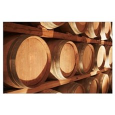 Wine Barrels Stacked On Shelves, Niagara, Ontario, Poster