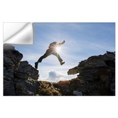 Hiker Leaping Between Rocks In The Brooks Range, G Wall Decal