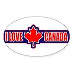I Love Canada Oval Sticker