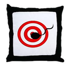 Sperm Hits Target Throw Pillow