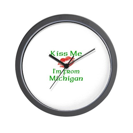 Kiss Me I'm from Michigan Wall Clock