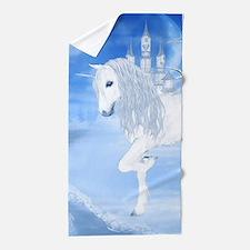 The White Unicorn Beach Towel
