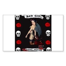 Angel Devil Girl Pin Up Bad Girl Gone Worse Sticke