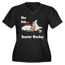Monkey-Boy Lambretta Women's Plus Size V-Neck Dark