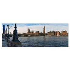 UK, Panoramic view of Houses of Parliament from ba Poster
