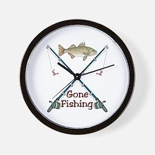 GONE FISHING - Wall Clock
