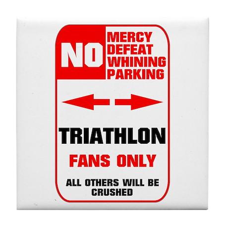 NO PARKING Triathlon Sign Tile Coaster