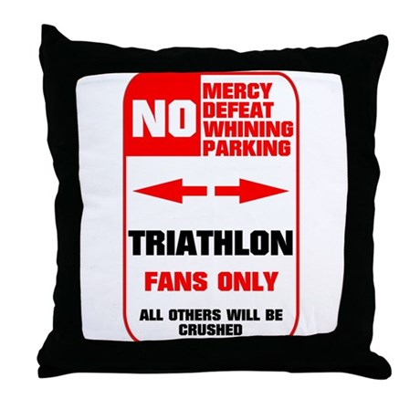NO PARKING Triathlon Sign Throw Pillow