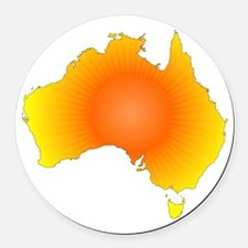 Sunny Australia Map Round Car Magnet