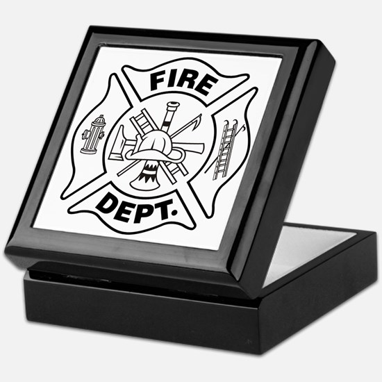 FIREFIGHTER MALTESE CROSS B & W - Keepsake Box