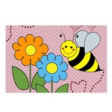 Bumble Bees Flowers Heart Postcards (Package of 8)