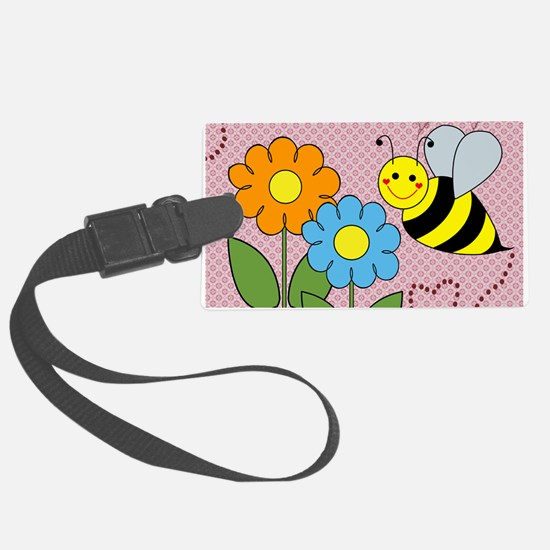 Bumble Bees Flowers Hearts Luggage Tag