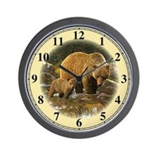 Grizzly Bear and Cub Wall Clock