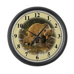 Grizzly Bear and Cub Large Wall Clock