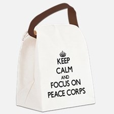 Keep Calm and focus on Peace Corp Canvas Lunch Bag