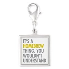 Its A Homebrew Thing Silver Square Charm