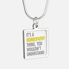 Its A Homeopathy Thing Silver Square Necklace