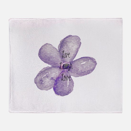 Live, Laugh, Love Watercolor Flower Throw Blanket