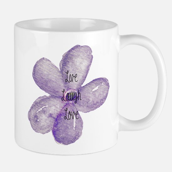 Live, Laugh, Love Watercolor Flower Mugs