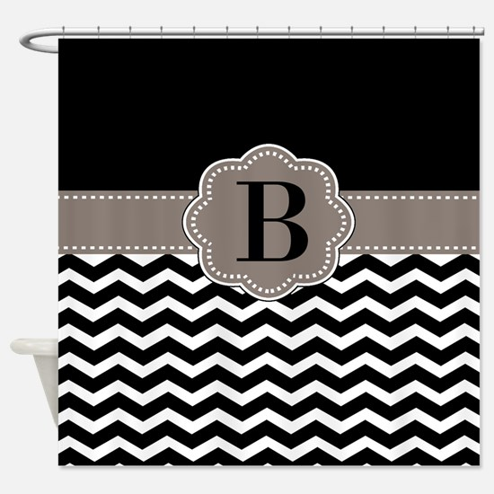 Black Chevron Monogram Shower Curtain
