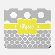 Gray Yellow Dots Quatrefoil Personalized Mousepad