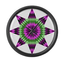 Native Purple Star Large Wall Clock