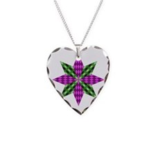 Purple and Green Star Necklace Heart Charm