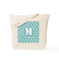 Nautical Monogram Letter M anchor Tote Bag