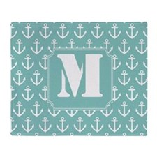 Nautical Monogram Letter M anchor Throw Blanket