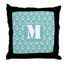 Nautical Monogram Letter M anchor Throw Pillow