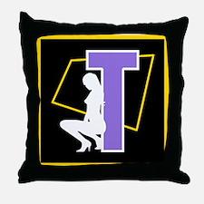 Naughty Initial Design (T) Throw Pillow