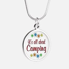 About Camping Silver Round Necklace