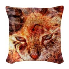 Wood Cat Woven Throw Pillow