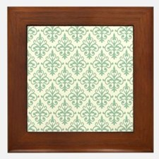 Hemlock & Cream Damask 41 Framed Tile