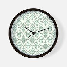 Hemlock & Cream Damask 41 Wall Clock