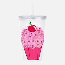 Pink Confetti Cupcake Acrylic Double-wall Tumbler