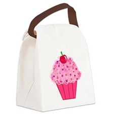 Pink Confetti Cupcake Canvas Lunch Bag