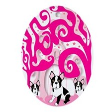 Boston Terrier Puppies Ornament (Oval)